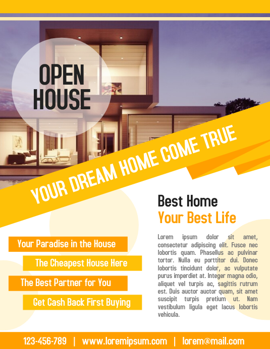 Open House Property Flyer Real Estate Business Poster Template ...