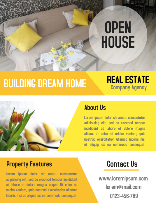 open house real estate property business flyer and poster template postermywall. Black Bedroom Furniture Sets. Home Design Ideas