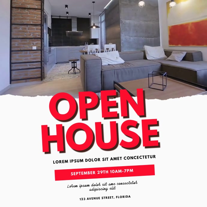 Open House Video Template สี่เหลี่ยมจัตุรัส (1:1)