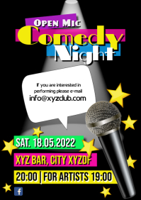 Open Mic Comedy Night Microphone A4 template