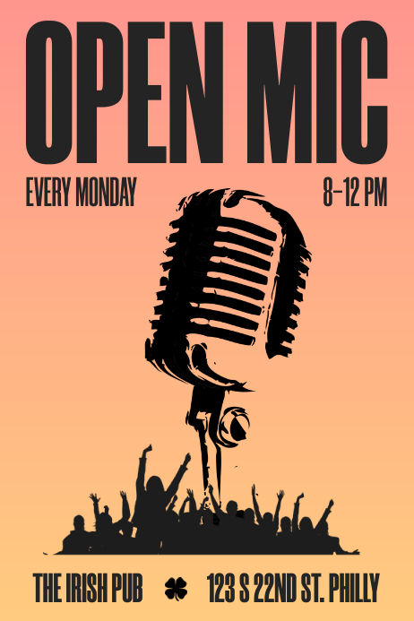 OPEN-MIC - Gradient Knockout Póster template