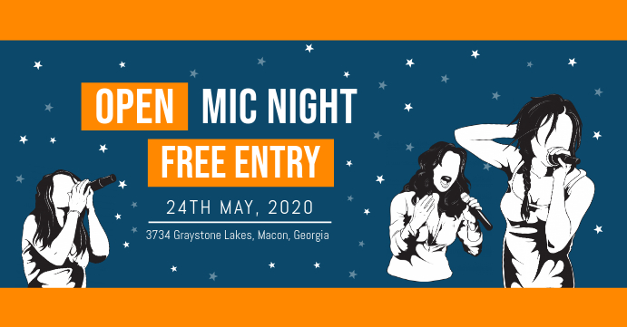 Open Mic Invitation Facebook Banner