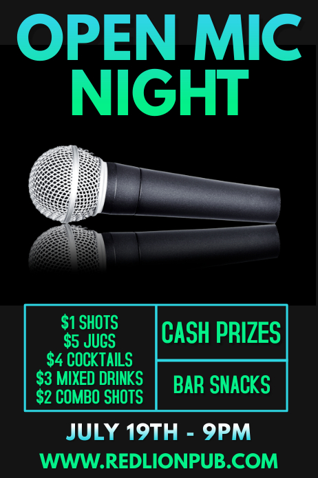 Open Mic Karaoke Bar Event Poster Template