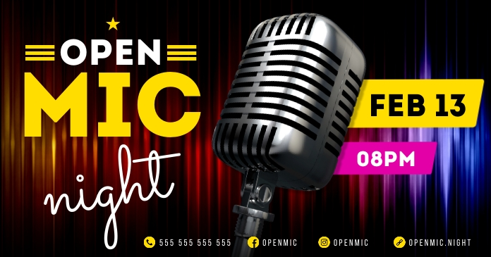 OPEN MIC NIGHT BANNER delt Facebook-billede template