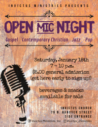 Open Mic Night poster size