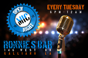 Open Mic Night Bar Venue Band Flyer Poster template