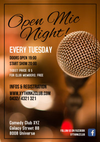 Open Mic night Stage Show Event Stand Up Ad A4 template