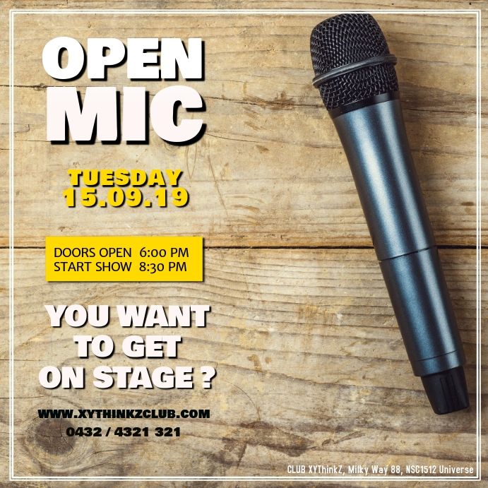 OPEN MIC Stand up Comedy Facebook Instagram Post Vierkant (1:1) template