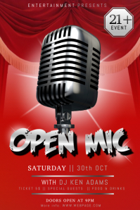 open mic stand up comedy karaoke talent show poster