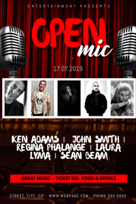open Mic Stand up Show Stage Flyer Template