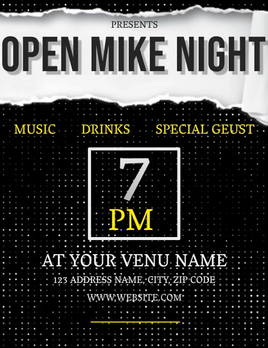 OPEN MIKE NIGHT Flyer (US-Letter) template