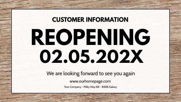 Open Re-Opening reopening banner header Sign วิดีโอหน้าปก Facebook (16:9) template