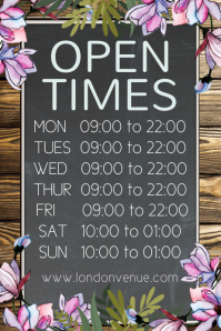 Open Times Rustic Poster Template Affiche