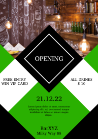 Opening Bar Club Cafe Flyer Invitation Advert
