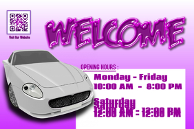 Opening hours poster for auto sales store