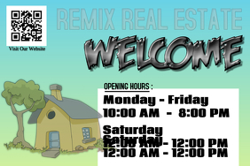Opening hours poster for real estate agency