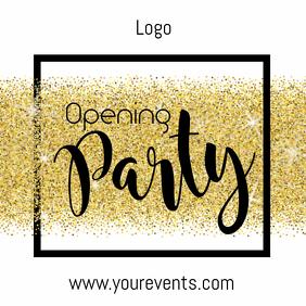 Opening party glitter glam gold celebration
