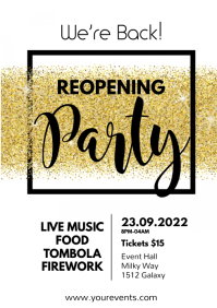 Opening reopening open party flyer invitation