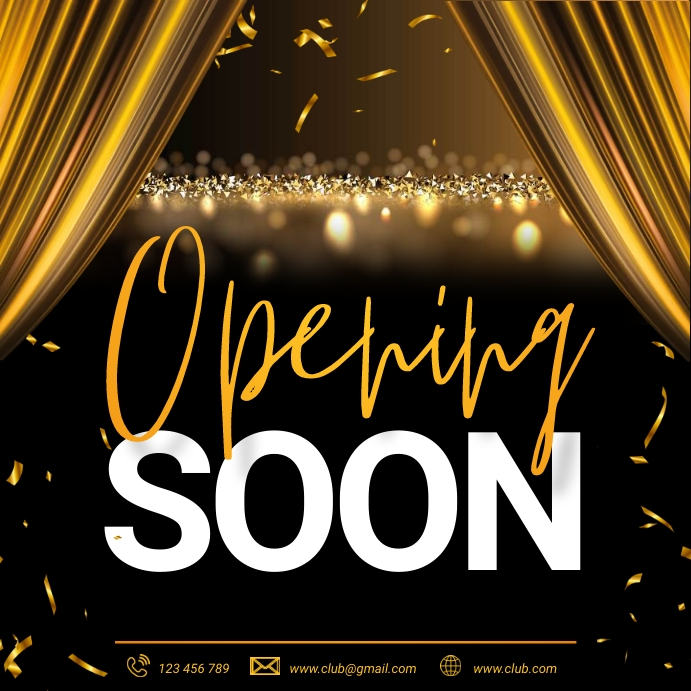 opening soon, coming soon, launching soon Instagram-opslag template