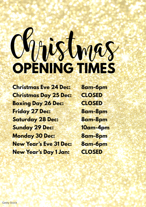 Opening Times Christmas Days holidays Retail A4 template