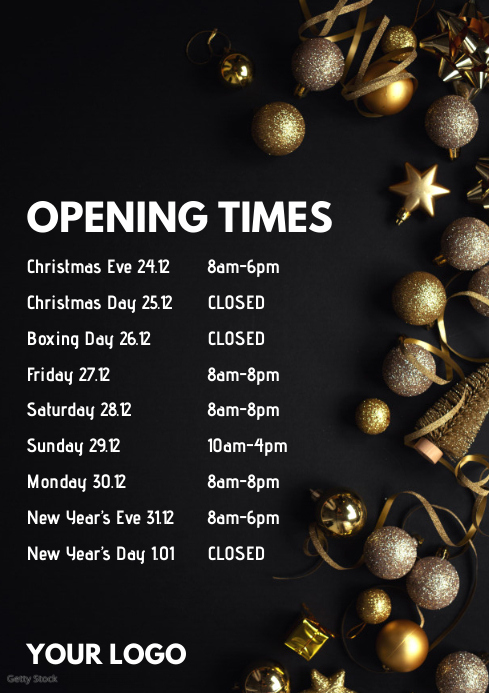 Opening Times Christmas Poster Flyer Advert