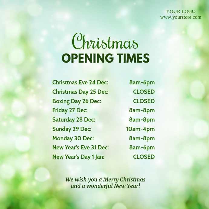 Opening Times Christmas Square Event Advert