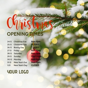 Opening Times Hours Christmas Holidays Square