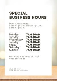 Opening Business Hours Corona Virus Covid19