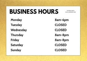 Opening Business Hours Store Shop Template Door