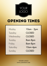 Opening times Hours Store Shop Template Door