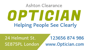 optician business card template