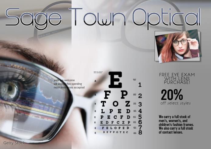 optician vision center sale postcard Postkort template