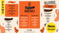 Orange American Bistro Menu Digital Display (16:9) template
