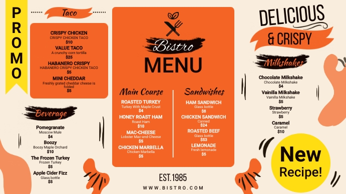Orange American Bistro Menu Digitalanzeige (16:9) template