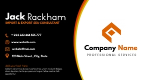 orange and black business card professional s