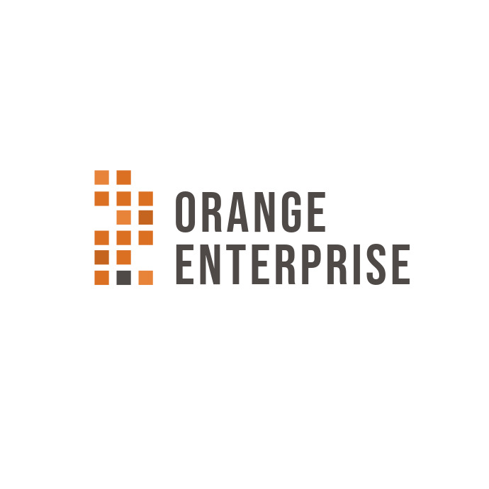 Orange and Black Corporate Logo