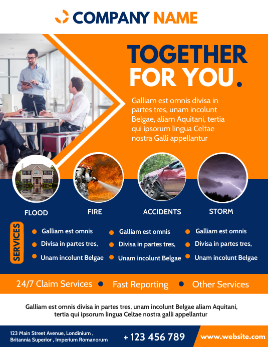 orange and blue colors insurance services fly Volantino (US Letter) template