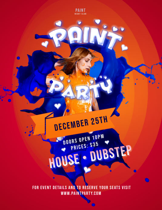 Orange and Blue Paint Party Poster
