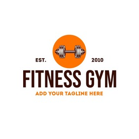 orange and brown fitness gym logo