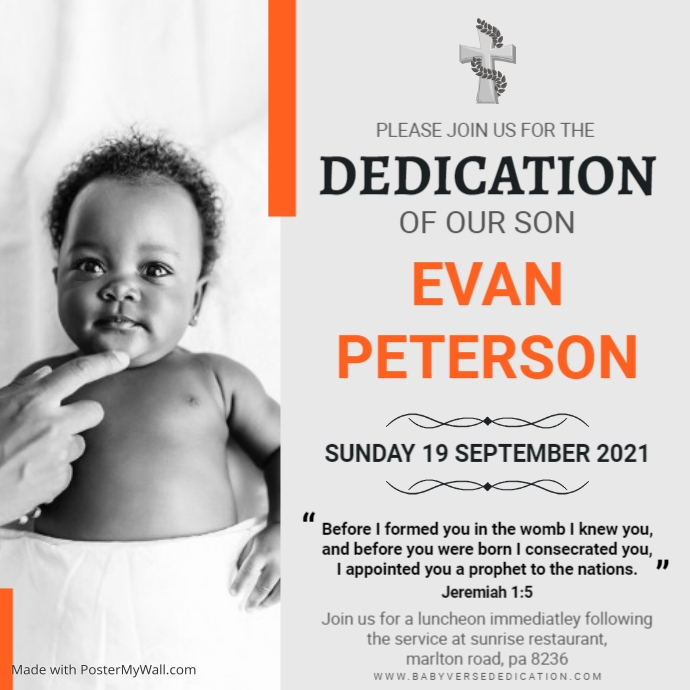Orange and grey verse dedication for child Pos Instagram template