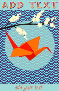 orange and red origami bird - ( crane ) and cherry flowers on a branch