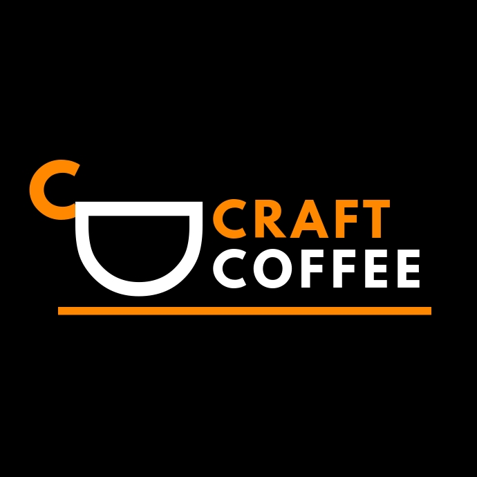 orange and white coffee logo template