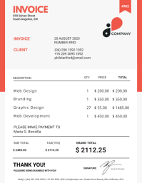 Orange and White Invoice Sample
