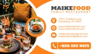 Orange and White Restaurant Business Card Des template