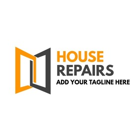 Orange and yellow and grey house logo template