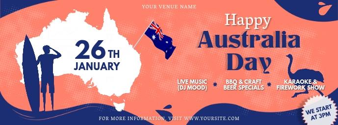 Orange Australia Day FB Banner Portada de Facebook template