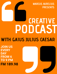 orange background creative podcast advertisem