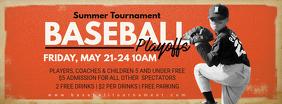 Orange Baseball Playoffs Invitation FB Banner Foto Sampul Facebook template