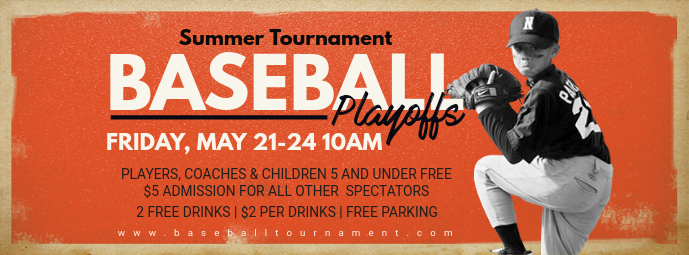 Orange Baseball Playoffs Invitation FB Banner