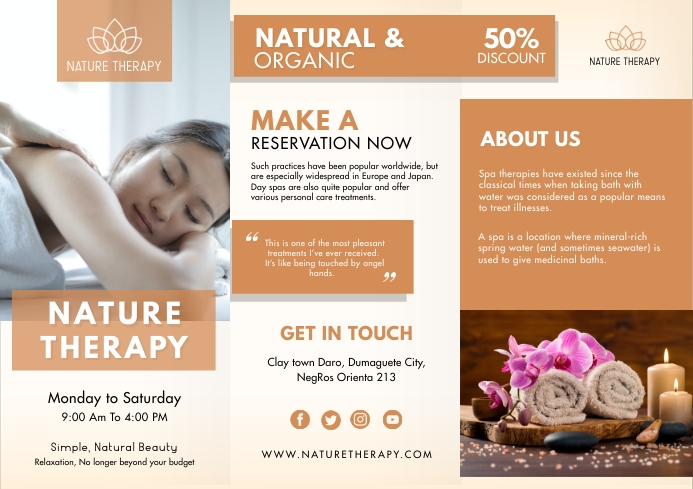 Orange Beauty Parlour Tri-fold Brochure A4 template